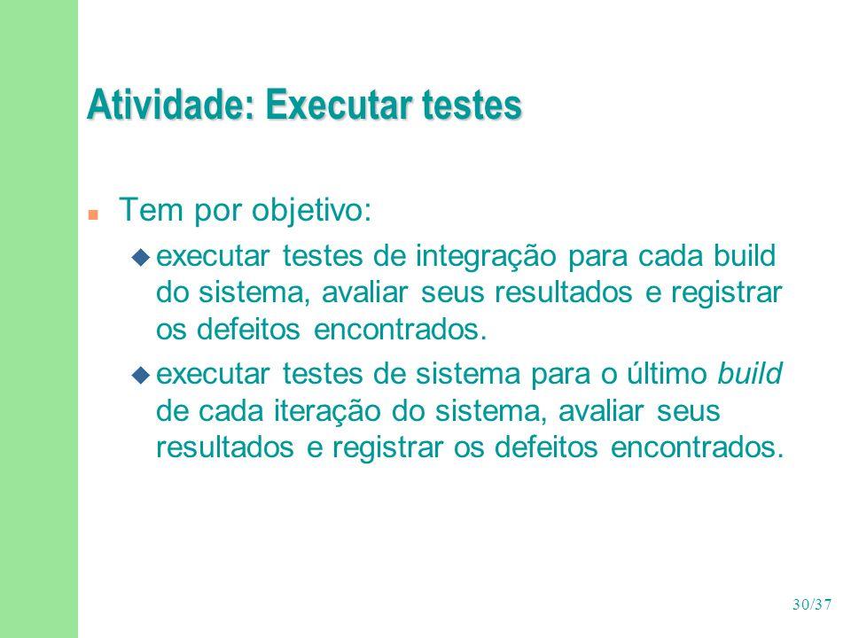 30/37 Atividade: Executar testes n Tem por objetivo: u executar testes de integração para cada build do sistema, avaliar seus resultados e registrar os defeitos encontrados.