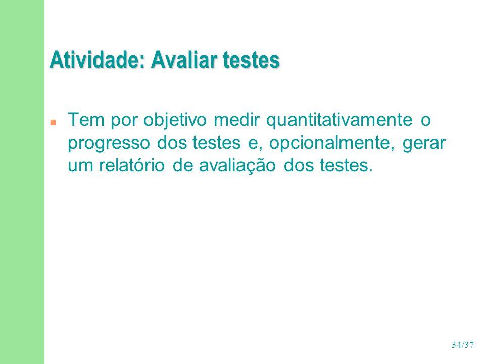 34/37 Atividade: Avaliar testes n Tem por objetivo medir quantitativamente o progresso dos testes e, opcionalmente, gerar um relatório de avaliação dos testes.