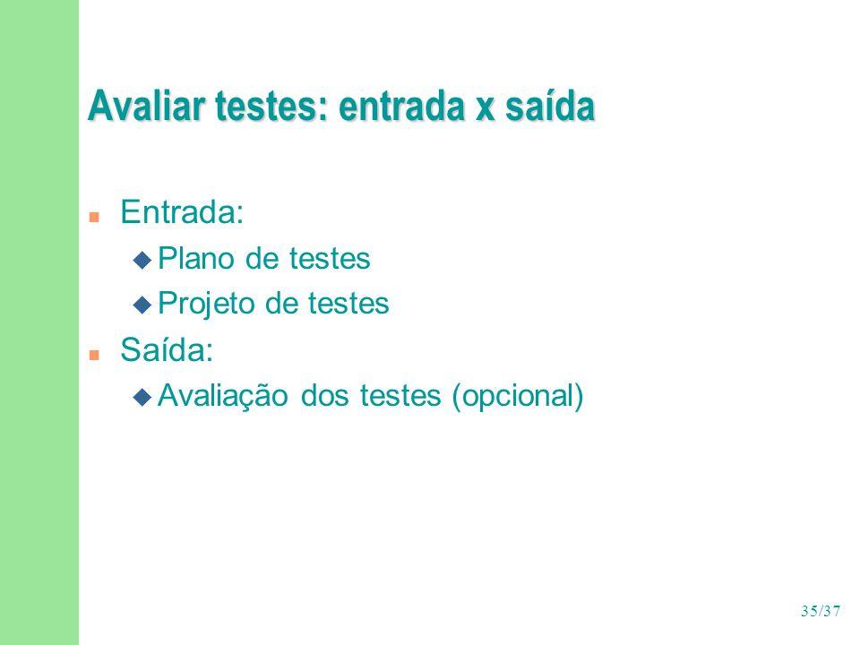 35/37 Avaliar testes: entrada x saída n Entrada: u Plano de testes u Projeto de testes n Saída: u Avaliação dos testes (opcional)