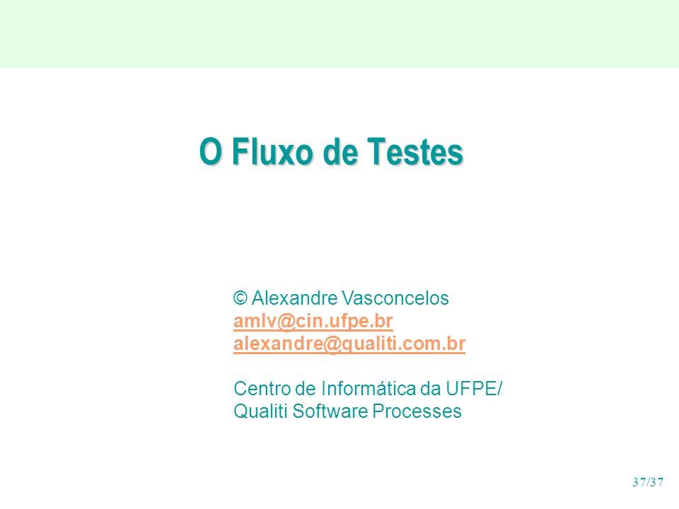37/37 O Fluxo de Testes © Alexandre Vasconcelos amlv@cin.ufpe.br alexandre@qualiti.com.br Centro de Informática da UFPE/ Qualiti Software Processes