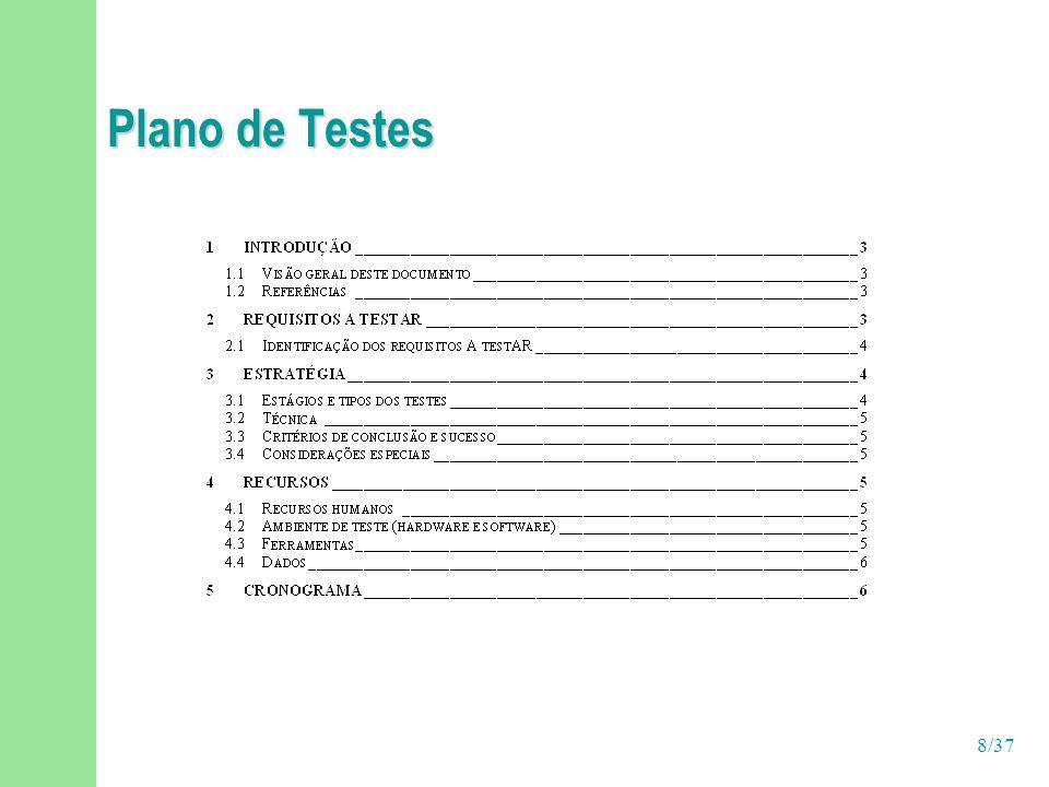 29/37 Atividade: Executar testes Implementar Testes Projetista de Testes Desenvolvedor Elaborar Plano de Testes Projetar Testes Avaliar Testes Executar Testes Testador