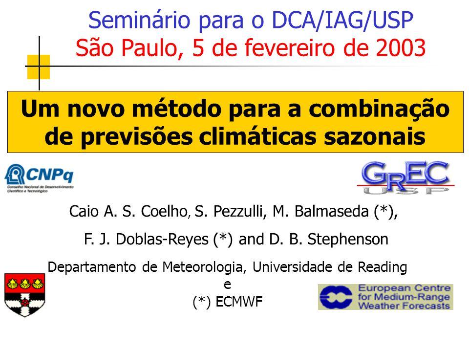 Caio A. S. Coelho, S. Pezzulli, M. Balmaseda (*), F. J. Doblas-Reyes (*) and D. B. Stephenson Seminário para o DCA/IAG/USP São Paulo, 5 de fevereiro d