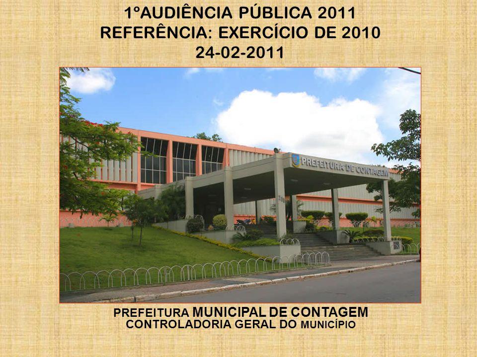 1ºAUDIÊNCIA PÚBLICA 2011 REFERÊNCIA: EXERCÍCIO DE 2010 24-02-2011 PREFEITURA MUNICIPAL DE CONTAGEM CONTROLADORIA GERAL DO MUNICÍPIO