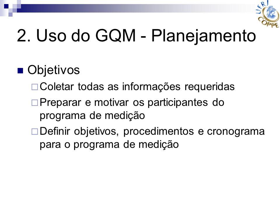 2. Uso do GQM - Planejamento Objetivos Coletar todas as informações requeridas Preparar e motivar os participantes do programa de medição Definir obje