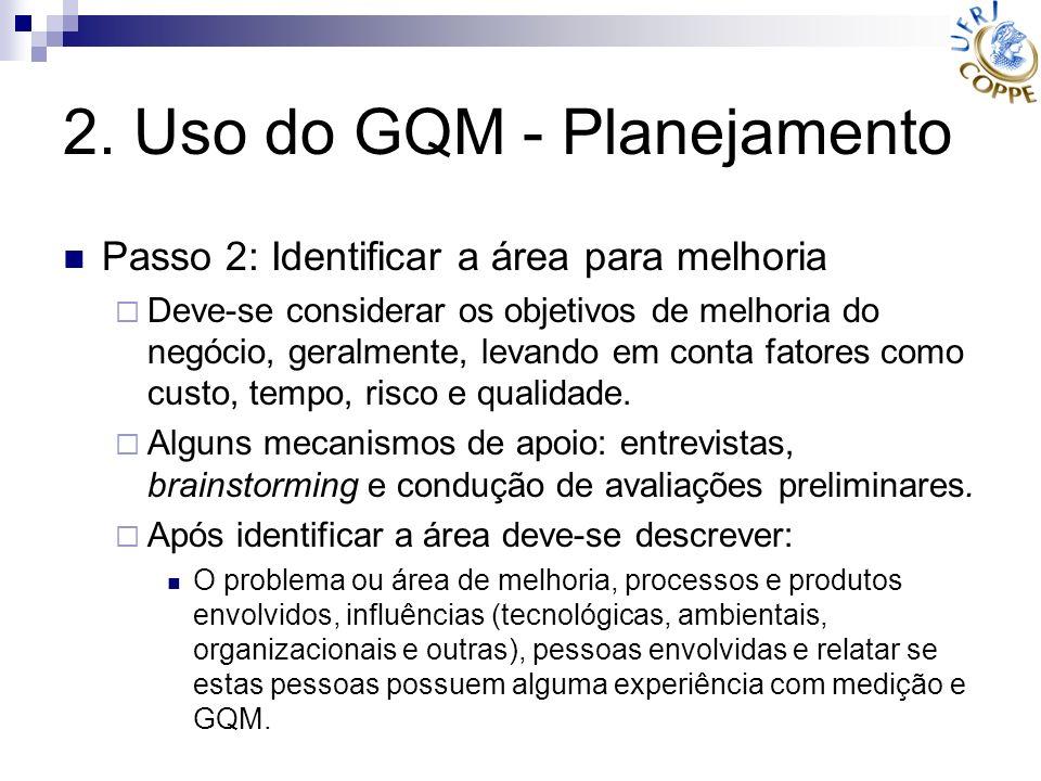 2. Uso do GQM - Planejamento Passo 2: Identificar a área para melhoria Deve-se considerar os objetivos de melhoria do negócio, geralmente, levando em