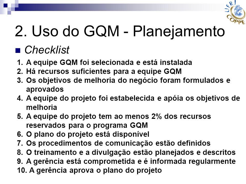 2. Uso do GQM - Planejamento 1.A equipe GQM foi selecionada e está instalada 2.Há recursos suficientes para a equipe GQM 3.Os objetivos de melhoria do