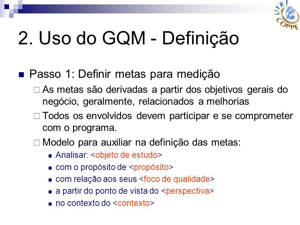 2. Uso do GQM - Definição Passo 1: Definir metas para medição As metas são derivadas a partir dos objetivos gerais do negócio, geralmente, relacionado