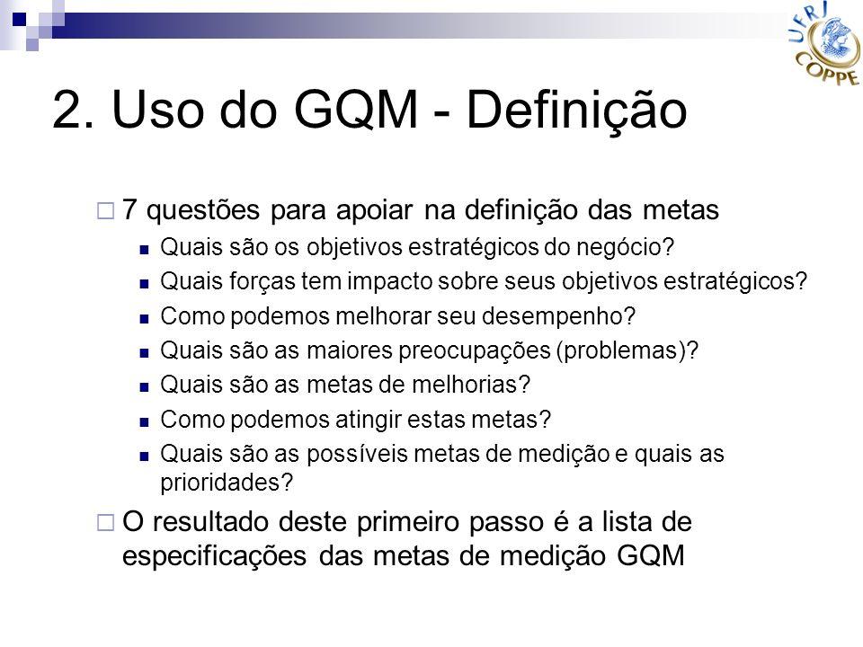2. Uso do GQM - Definição 7 questões para apoiar na definição das metas Quais são os objetivos estratégicos do negócio? Quais forças tem impacto sobre