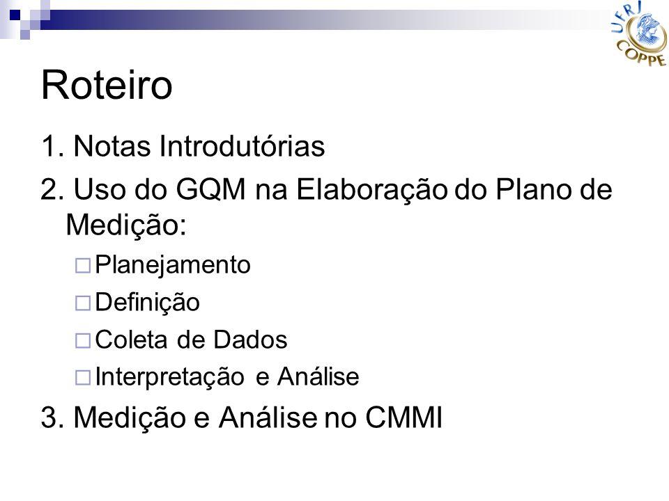 Roteiro 1. Notas Introdutórias 2. Uso do GQM na Elaboração do Plano de Medição: Planejamento Definição Coleta de Dados Interpretação e Análise 3. Medi