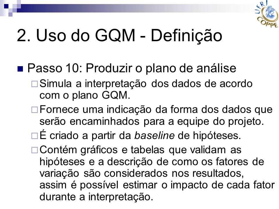 2. Uso do GQM - Definição Passo 10: Produzir o plano de análise Simula a interpretação dos dados de acordo com o plano GQM. Fornece uma indicação da f