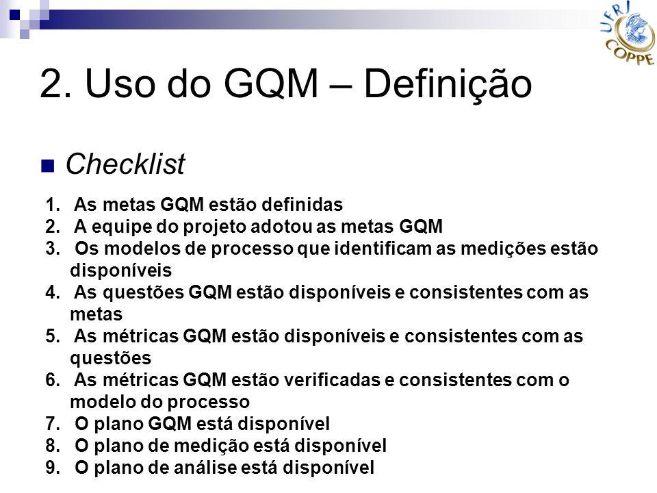 2. Uso do GQM – Definição Checklist 1. As metas GQM estão definidas 2. A equipe do projeto adotou as metas GQM 3. Os modelos de processo que identific