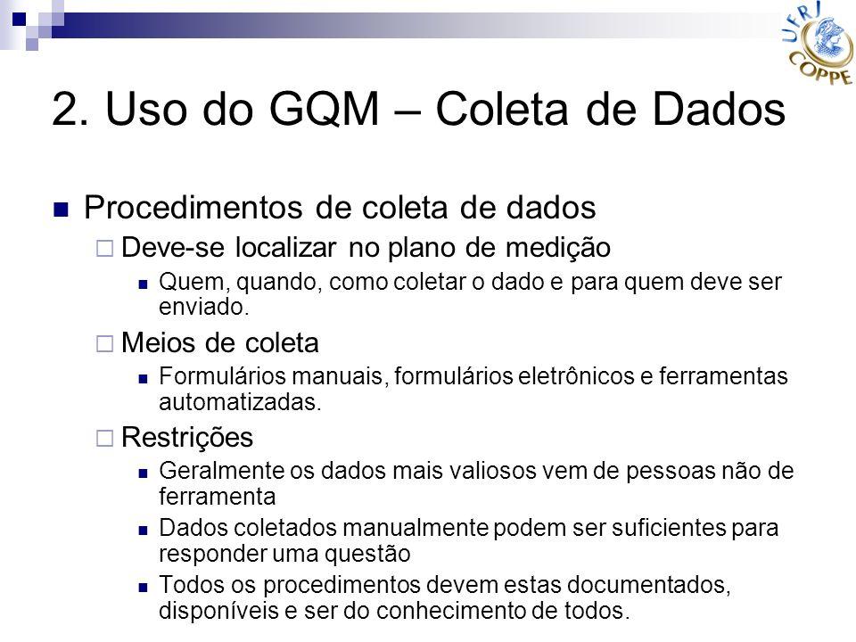 2. Uso do GQM – Coleta de Dados Procedimentos de coleta de dados Deve-se localizar no plano de medição Quem, quando, como coletar o dado e para quem d