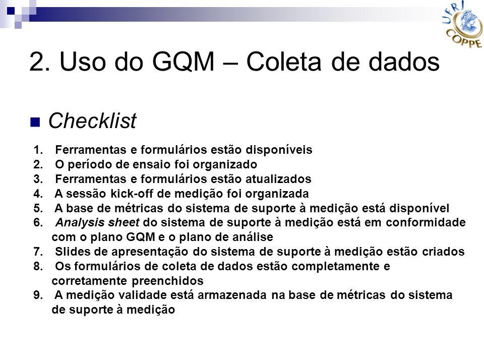2. Uso do GQM – Coleta de dados Checklist 1. Ferramentas e formulários estão disponíveis 2. O período de ensaio foi organizado 3. Ferramentas e formul
