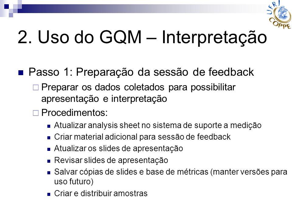 2. Uso do GQM – Interpretação Passo 1: Preparação da sessão de feedback Preparar os dados coletados para possibilitar apresentação e interpretação Pro
