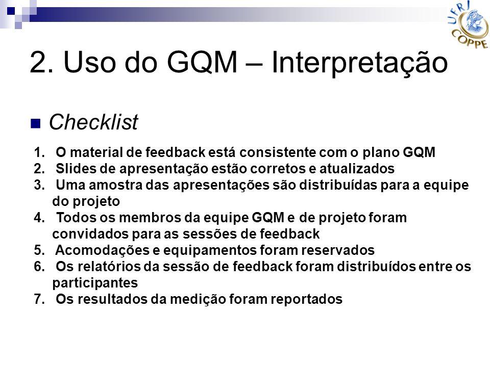 2. Uso do GQM – Interpretação Checklist 1. O material de feedback está consistente com o plano GQM 2. Slides de apresentação estão corretos e atualiza