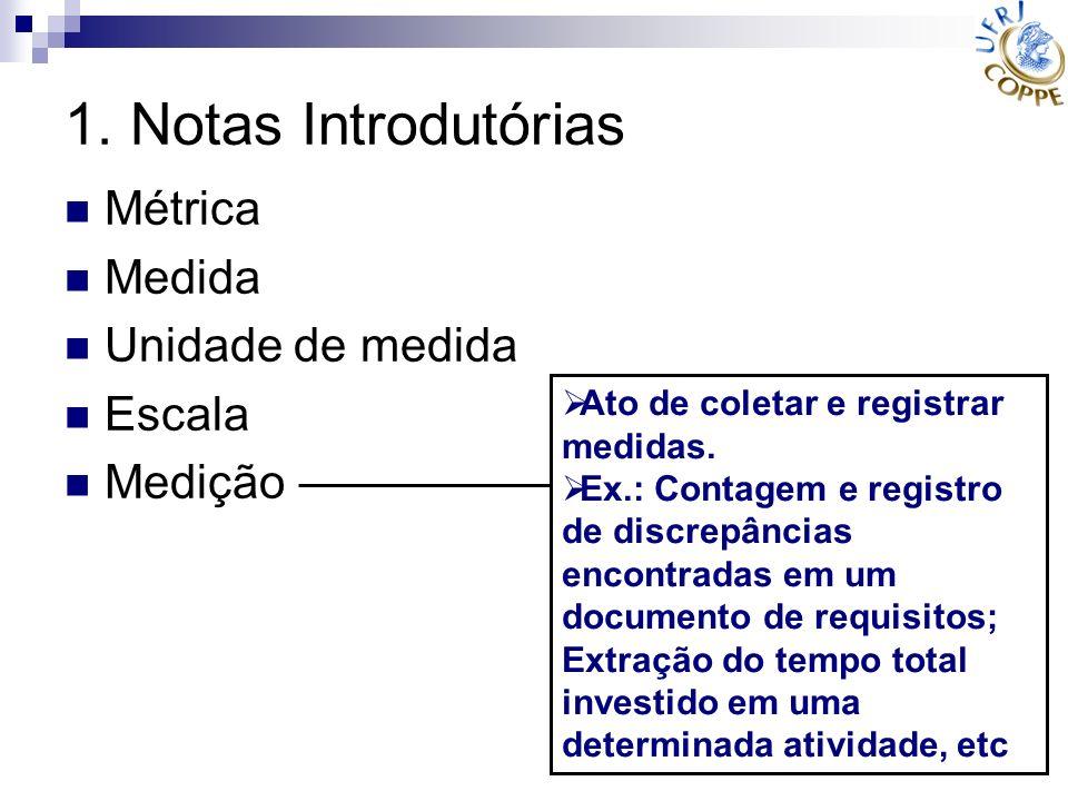 1. Notas Introdutórias Métrica Medida Unidade de medida Escala Medição Ato de coletar e registrar medidas. Ex.: Contagem e registro de discrepâncias e
