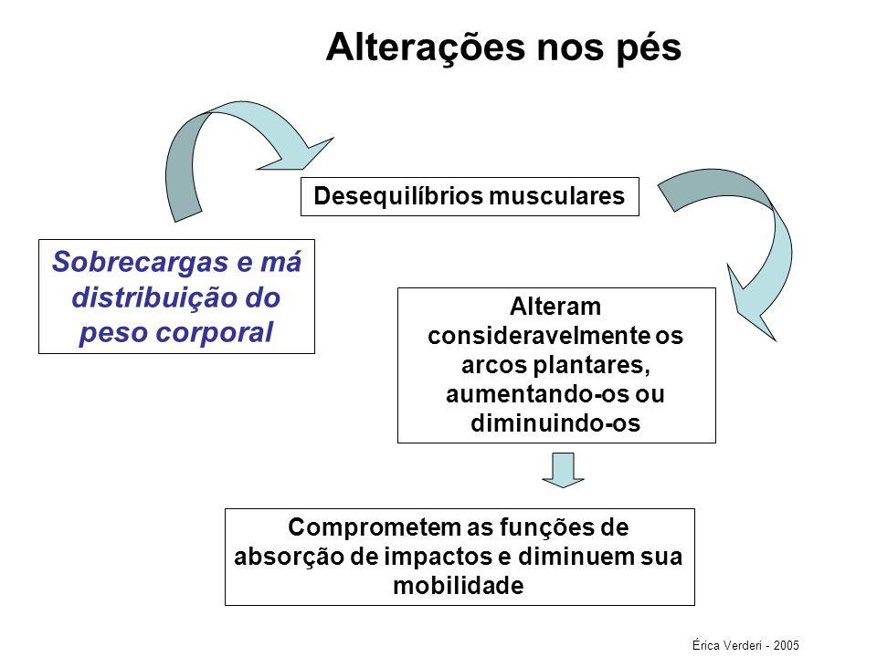 Alterações nos pés Desequilíbrios musculares Sobrecargas e má distribuição do peso corporal Alteram consideravelmente os arcos plantares, aumentando-o