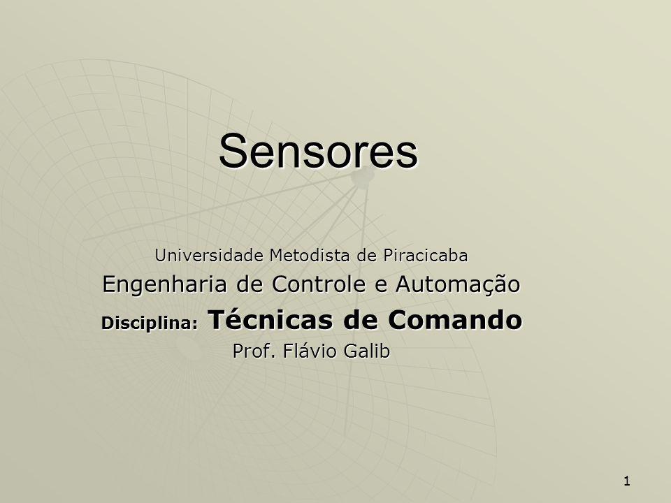 1 Sensores Universidade Metodista de Piracicaba Engenharia de Controle e Automação Disciplina: Técnicas de Comando Prof. Flávio Galib