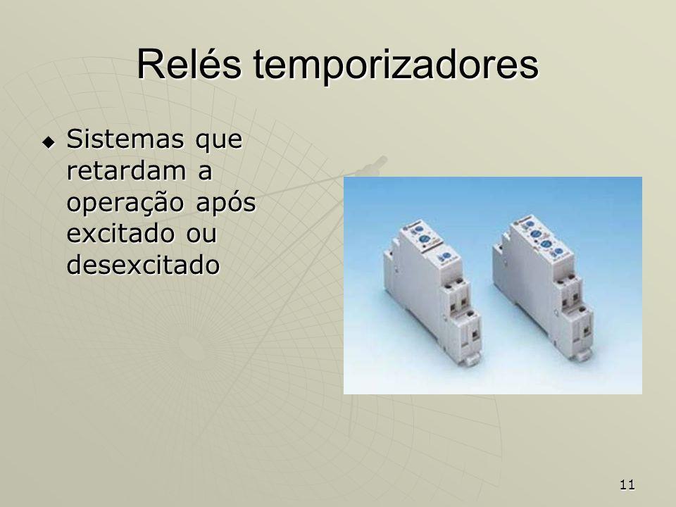 11 Relés temporizadores Sistemas que retardam a operação após excitado ou desexcitado Sistemas que retardam a operação após excitado ou desexcitado