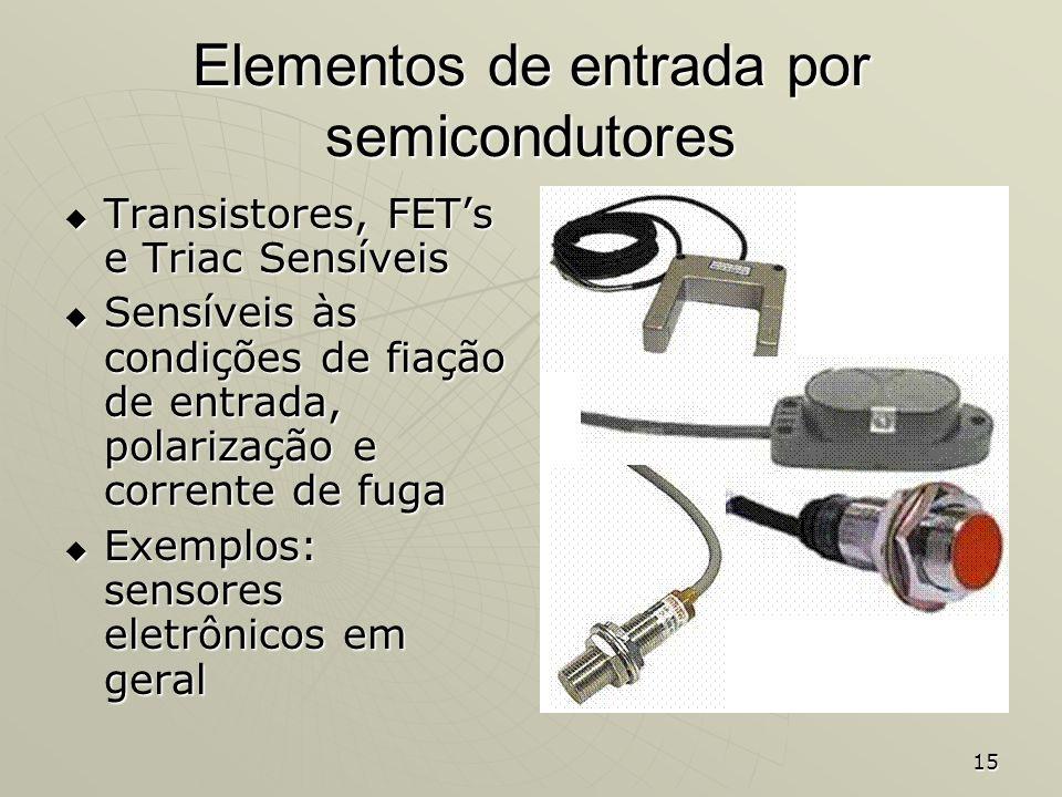 15 Elementos de entrada por semicondutores Transistores, FETs e Triac Sensíveis Transistores, FETs e Triac Sensíveis Sensíveis às condições de fiação