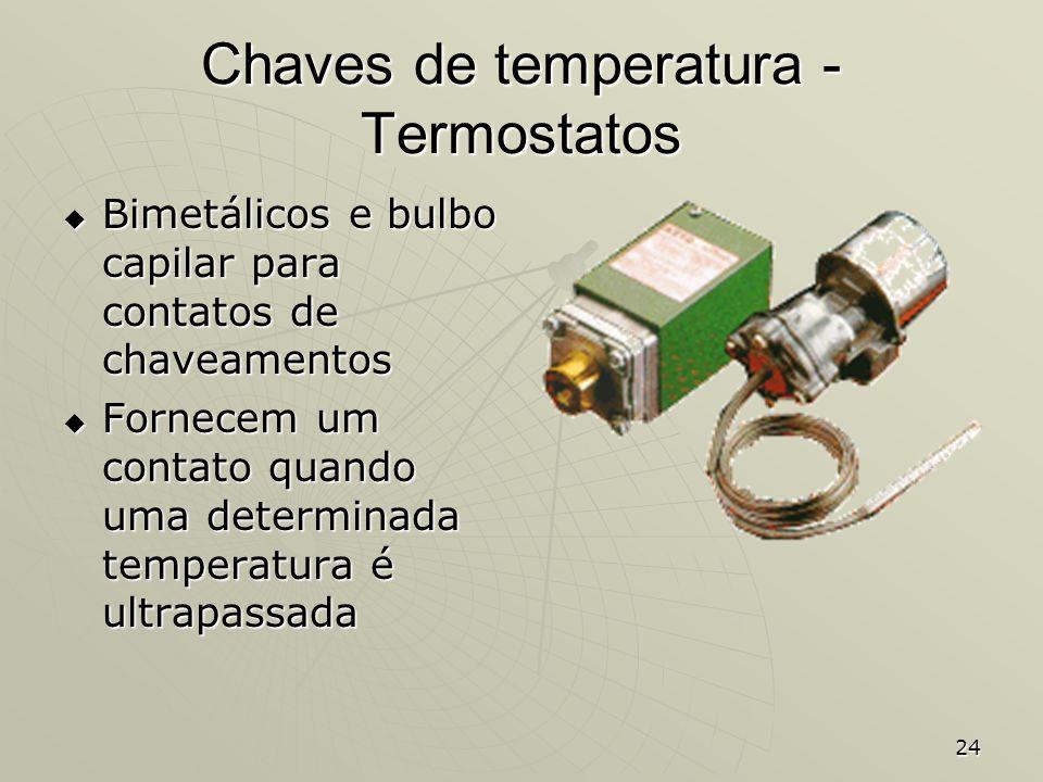 24 Chaves de temperatura - Termostatos Bimetálicos e bulbo capilar para contatos de chaveamentos Bimetálicos e bulbo capilar para contatos de chaveame