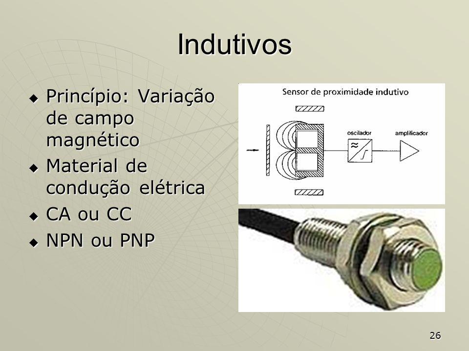 26 Indutivos Princípio: Variação de campo magnético Princípio: Variação de campo magnético Material de condução elétrica Material de condução elétrica