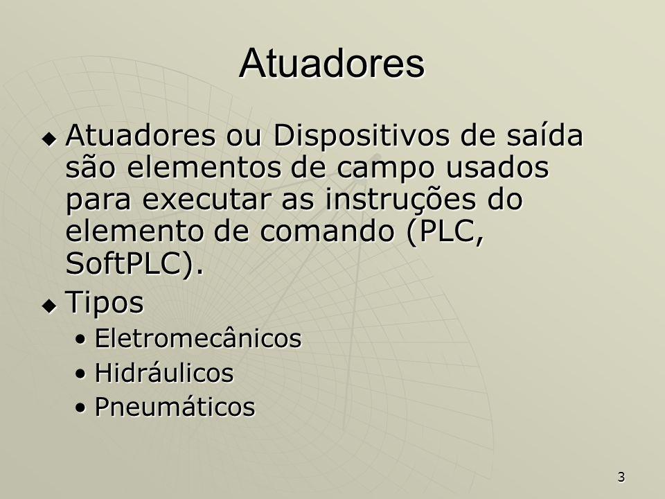 3 Atuadores Atuadores ou Dispositivos de saída são elementos de campo usados para executar as instruções do elemento de comando (PLC, SoftPLC). Atuado
