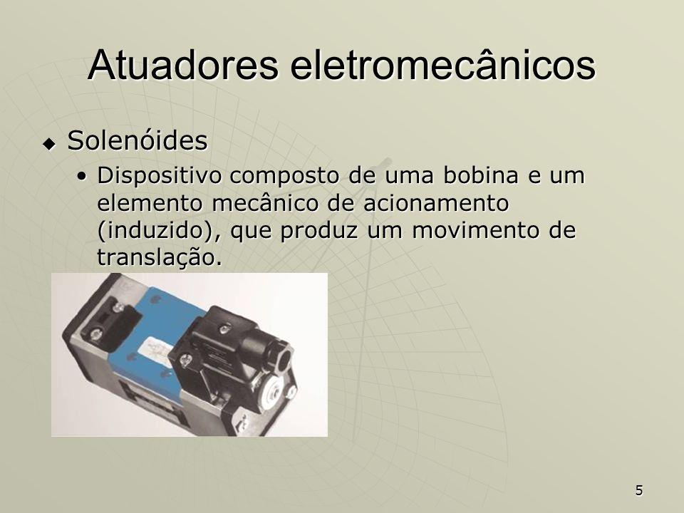 5 Atuadores eletromecânicos Solenóides Solenóides Dispositivo composto de uma bobina e um elemento mecânico de acionamento (induzido), que produz um m