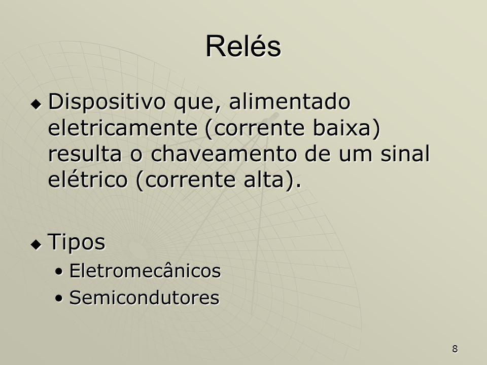 8 Relés Dispositivo que, alimentado eletricamente (corrente baixa) resulta o chaveamento de um sinal elétrico (corrente alta). Dispositivo que, alimen