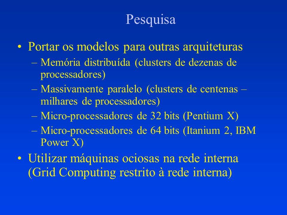 Pesquisa Portar os modelos para outras arquiteturas –Memória distribuída (clusters de dezenas de processadores) –Massivamente paralelo (clusters de ce