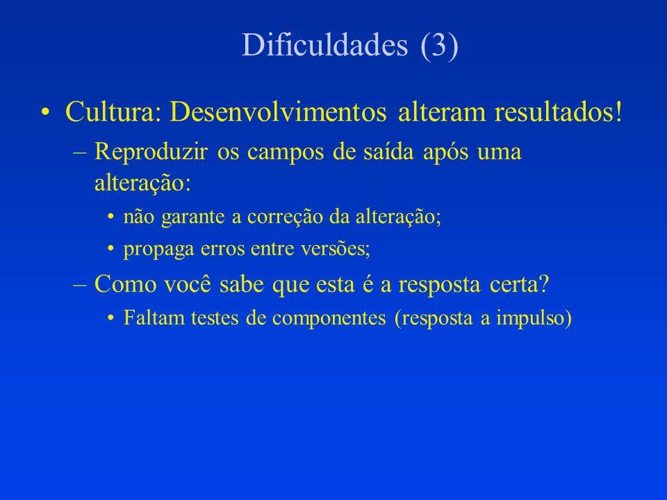 Dificuldades (3) Cultura: Desenvolvimentos alteram resultados! –Reproduzir os campos de saída após uma alteração: não garante a correção da alteração;