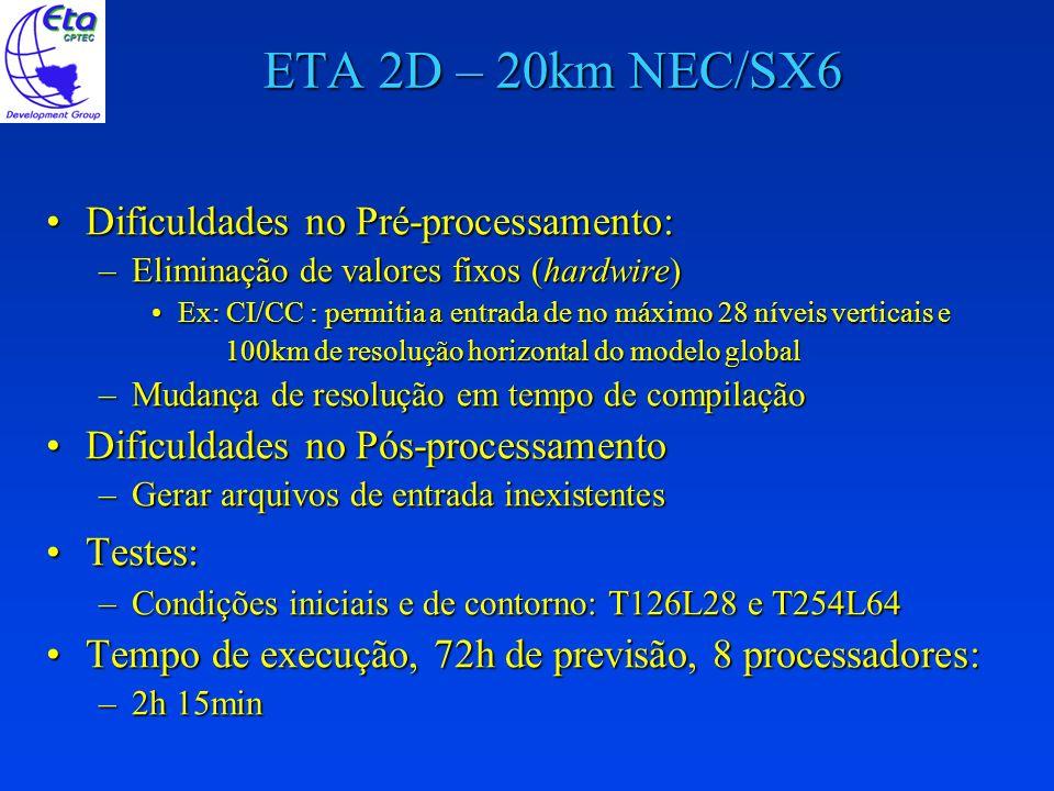 ETA 2D – 20km NEC/SX6 Dificuldades no Pré-processamento:Dificuldades no Pré-processamento: –Eliminação de valores fixos (hardwire) Ex: CI/CC : permiti