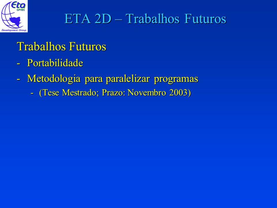 ETA 2D – Trabalhos Futuros Trabalhos Futuros -Portabilidade -Metodologia para paralelizar programas -(Tese Mestrado; Prazo: Novembro 2003)