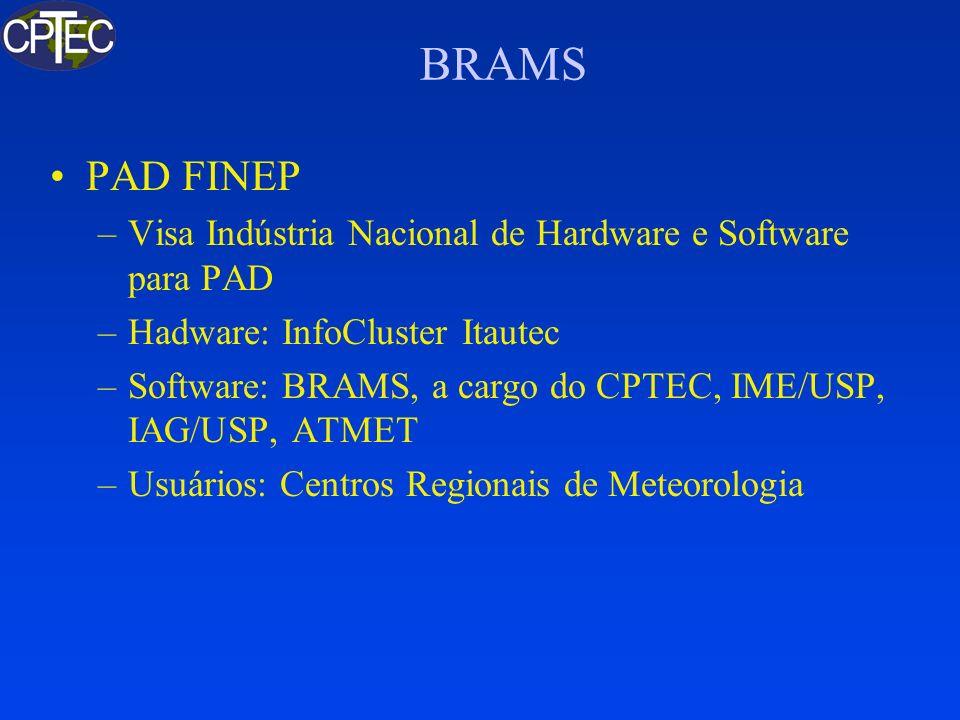 BRAMS PAD FINEP –Visa Indústria Nacional de Hardware e Software para PAD –Hadware: InfoCluster Itautec –Software: BRAMS, a cargo do CPTEC, IME/USP, IA