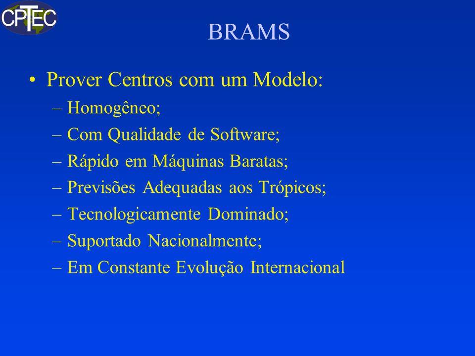 BRAMS Prover Centros com um Modelo: –Homogêneo; –Com Qualidade de Software; –Rápido em Máquinas Baratas; –Previsões Adequadas aos Trópicos; –Tecnologi