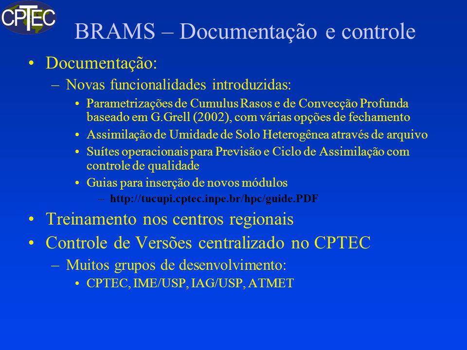 BRAMS – Documentação e controle Documentação: –Novas funcionalidades introduzidas: Parametrizações de Cumulus Rasos e de Convecção Profunda baseado em
