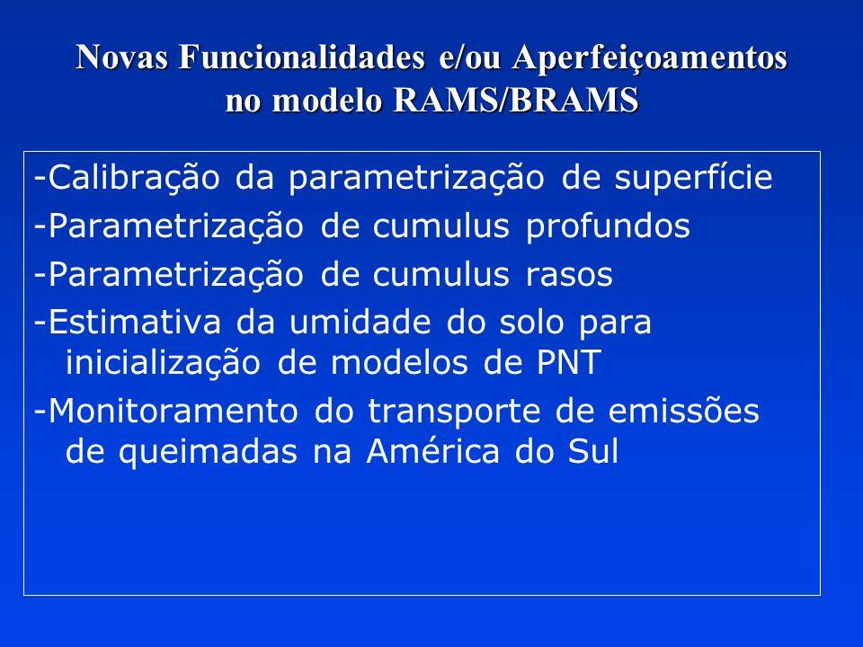 Novas Funcionalidades e/ou Aperfeiçoamentos no modelo RAMS/BRAMS -Calibração da parametrização de superfície -Parametrização de cumulus profundos -Par