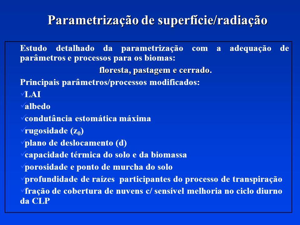 Parametrização de superfície/radiação Estudo detalhado da parametrização com a adequação de parâmetros e processos para os biomas: floresta, pastagem