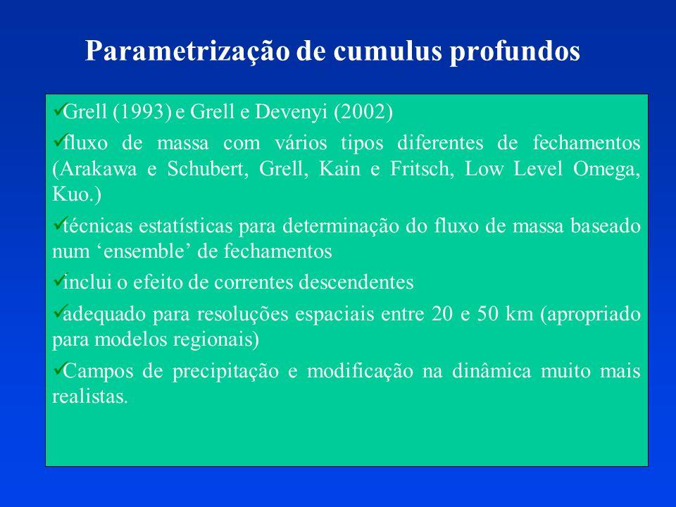 Parametrização de cumulus profundos Grell (1993) e Grell e Devenyi (2002) fluxo de massa com vários tipos diferentes de fechamentos (Arakawa e Schuber