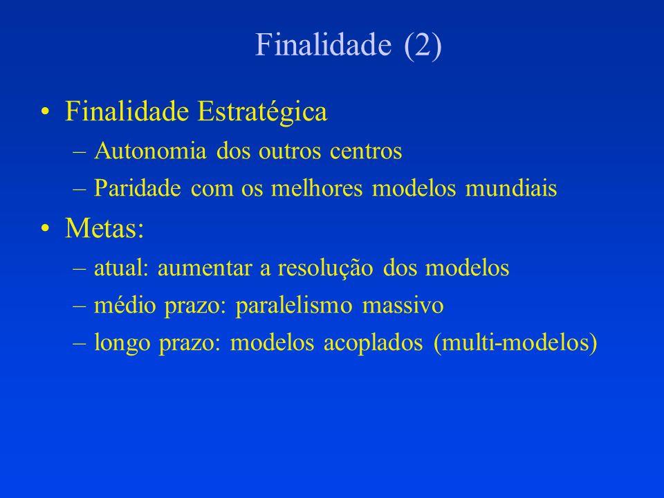 Finalidade (2) Finalidade Estratégica –Autonomia dos outros centros –Paridade com os melhores modelos mundiais Metas: –atual: aumentar a resolução dos