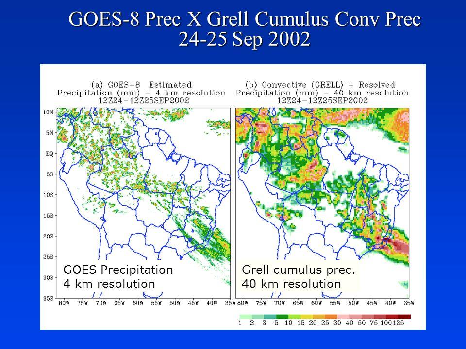 GOES-8 Prec X Grell Cumulus Conv Prec 24-25 Sep 2002 GOES Precipitation 4 km resolution Grell cumulus prec. 40 km resolution