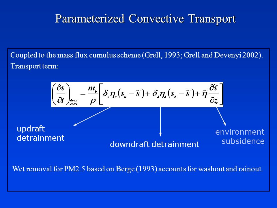 Parameterized Convective Transport Coupled to the mass flux cumulus scheme (Grell, 1993; Grell and Devenyi 2002). Transport term: updraft detrainment