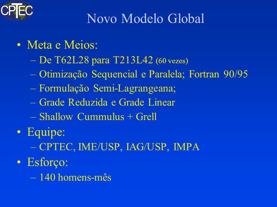 Novo Modelo Global Meta e Meios: –De T62L28 para T213L42 (60 vezes) –Otimização Sequencial e Paralela; Fortran 90/95 –Formulação Semi-Lagrangeana; –Gr