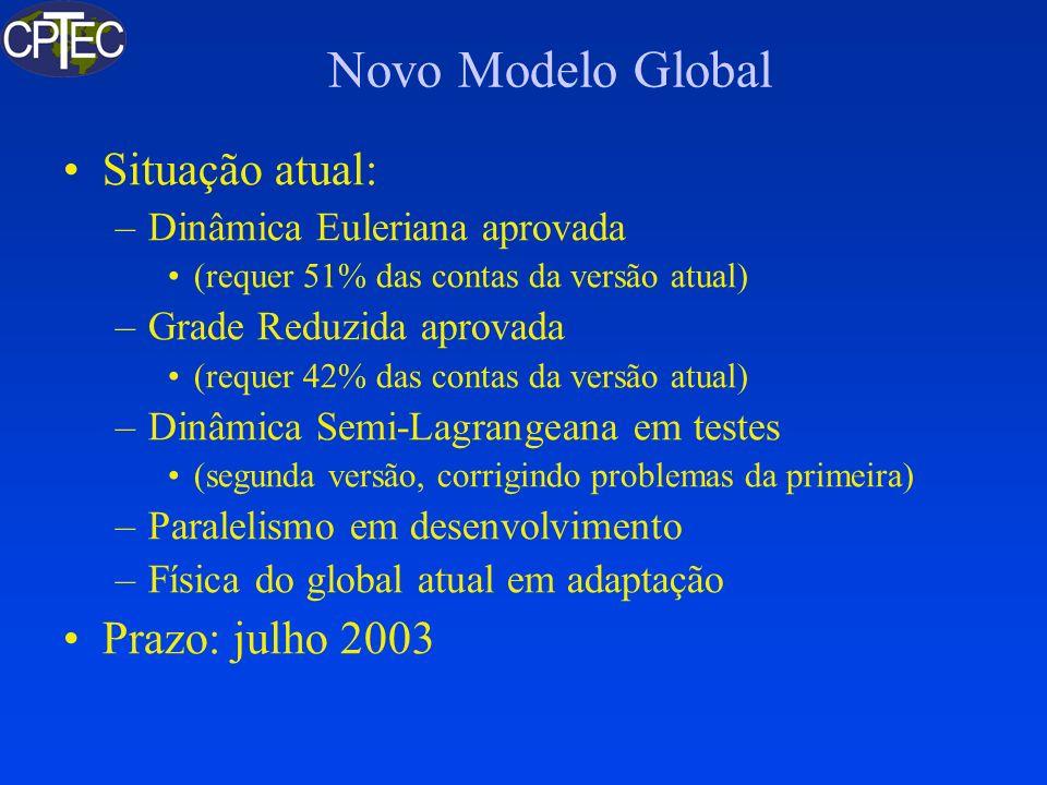 Novo Modelo Global Situação atual: –Dinâmica Euleriana aprovada (requer 51% das contas da versão atual) –Grade Reduzida aprovada (requer 42% das conta