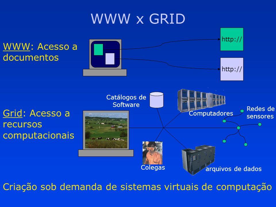 WWW x GRID Criação sob demanda de sistemas virtuais de computação http:// WWW: Acesso a documentos Grid: Acesso a recursos computacionais Redes de sen