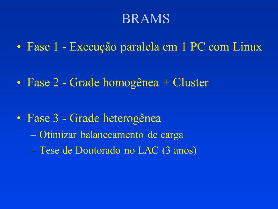 BRAMS Fase 1 - Execução paralela em 1 PC com Linux Fase 2 - Grade homogênea + Cluster Fase 3 - Grade heterogênea –Otimizar balanceamento de carga –Tes