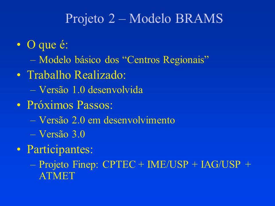 Projeto 2 – Modelo BRAMS O que é: –Modelo básico dos Centros Regionais Trabalho Realizado: –Versão 1.0 desenvolvida Próximos Passos: –Versão 2.0 em de