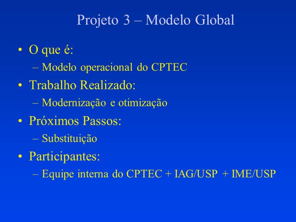 Projeto 3 – Modelo Global O que é: –Modelo operacional do CPTEC Trabalho Realizado: –Modernização e otimização Próximos Passos: –Substituição Particip