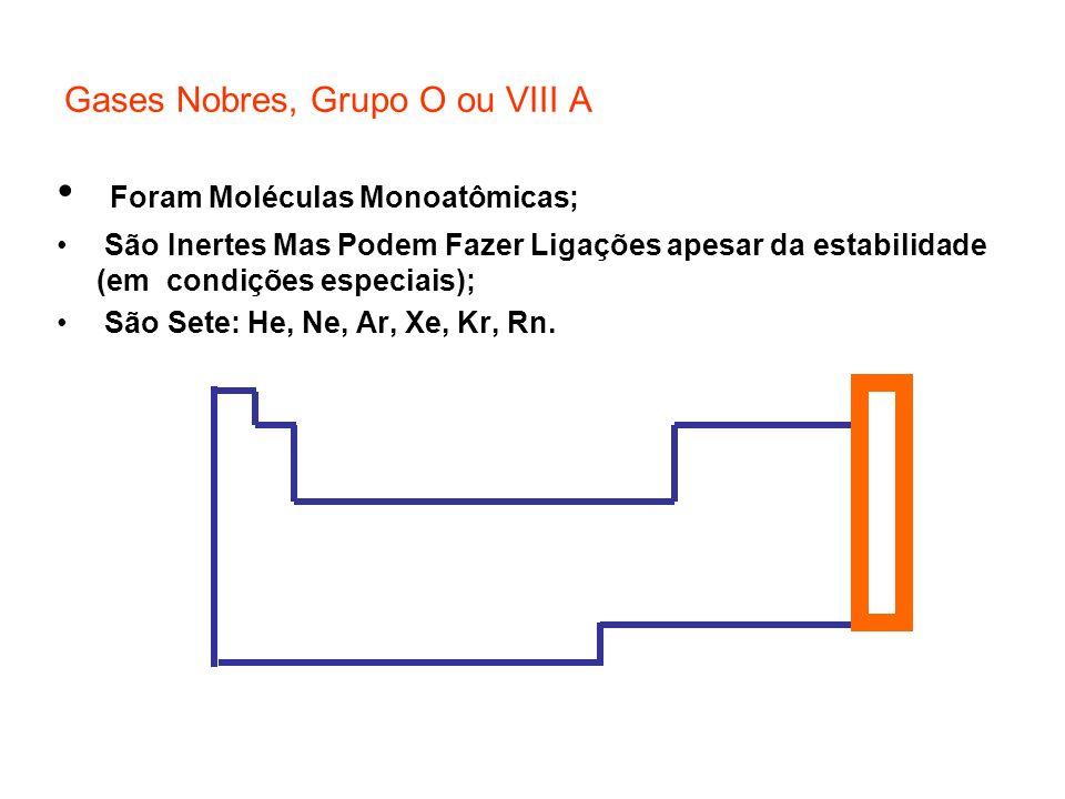 Gases Nobres, Grupo O ou VIII A Foram Moléculas Monoatômicas; São Inertes Mas Podem Fazer Ligações apesar da estabilidade (em condições especiais); Sã