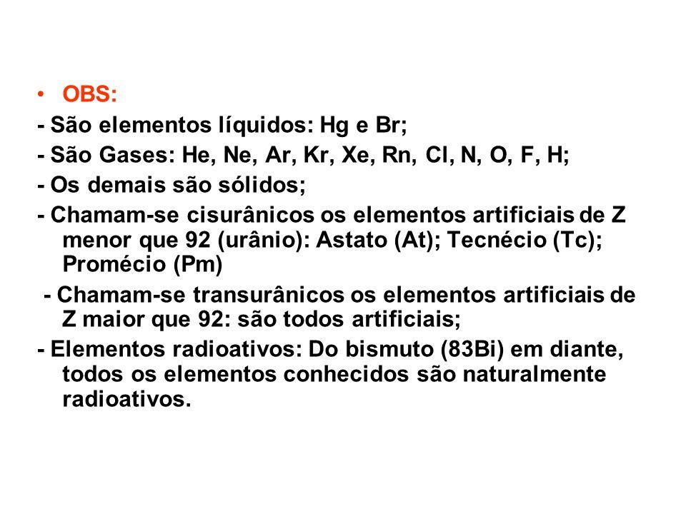 OBS: - São elementos líquidos: Hg e Br; - São Gases: He, Ne, Ar, Kr, Xe, Rn, Cl, N, O, F, H; - Os demais são sólidos; - Chamam-se cisurânicos os eleme